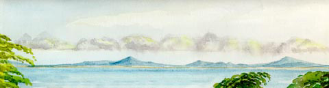 watercolour of Cardigan bay